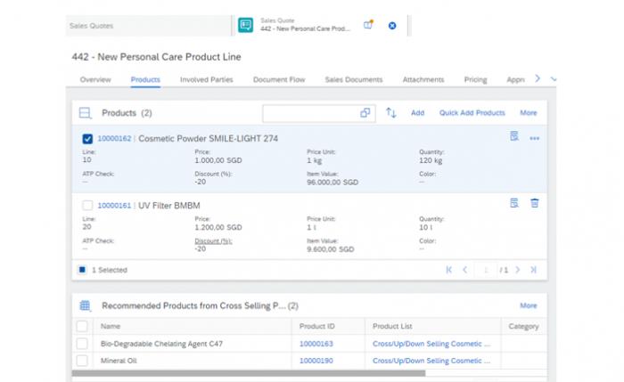 SAP Sales Cloud Product Recommendation interface